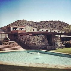 stone work and boulder -- waterfall/pyramid style Frank loyd wrights winter residence Scottsdale, AZ called Taliesin West Architecture Details, Modern Architecture, Frank Lloyd Wright Style, Usonian House, Famous Architects, Lifestyle, Studio, Scottsdale Arizona, Exterior
