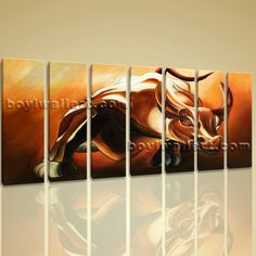 "Large Framed Giclee Print High Revolution Bull Wall Street Money Abstract Art Extra Large Wall Art, Gallery Wrapped, by Bo Yi Gallery 76""x36"". Large Framed Giclee Print High Revolution Bull Wall Street Money Abstract Art Subject : Abstract Style : Contemporary Panels : 7 Detail Size : 10""x36""x7 Overall Size : 76""x36"" = 193cm x 91cm Medium : Giclee Print On Canvas Condition : Brand New Frames : Gallery wrapped [FEATURES] Lightweight and easy to hang. High revolution giclee…"