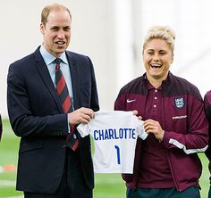 The Duke of Cambridge met with with the England Women's Football team at St. George's Park in Burton-upon-Trent, England.   William received a soccer jersey for newborn Princess Charlotte on Wednesday, May 20, 2015.