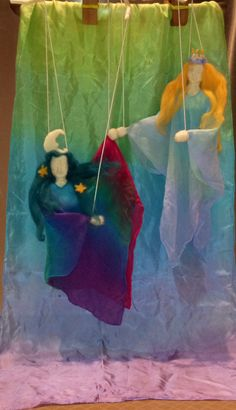 Winter Felted wool marionettes Moon fairy and St. Lucia, Waldorf puppets