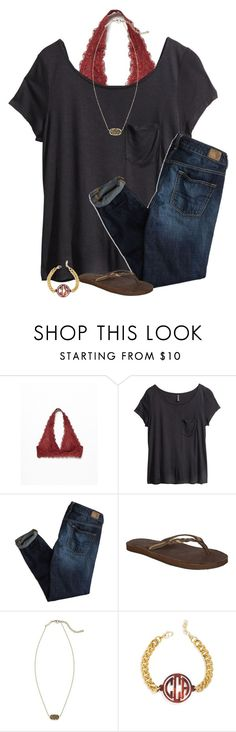 """""""cute school outfit"""" by lilypackard ❤ liked on Polyvore featuring Free People, H&M, American Eagle Outfitters, Rainbow, Kendra Scott and BaubleBar"""