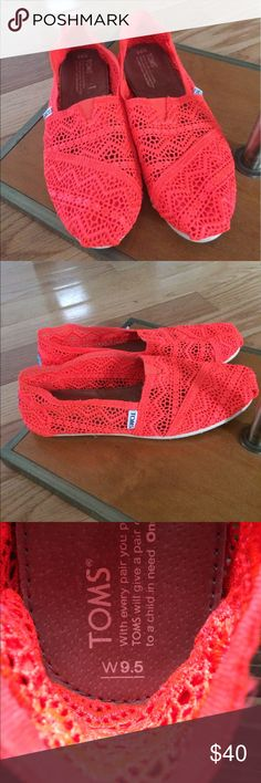 Rare Neon Pink Lace One for One Tom's Flats 9.5 Gorgeous and rare neon pink Tom's. These are perfect for a beach trip or vacation! They are lace material and size 9.5 TOMS Shoes Flats & Loafers