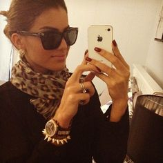 Chic Bun . Perfect Makeup + Brows . Sunglasses . Leopard Scarf . Simple Stud Earrings .