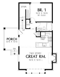 Image result for 1 bedroom with loft house plans