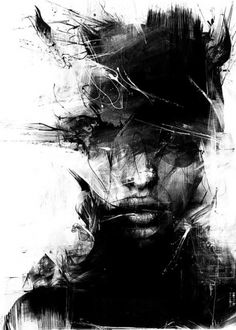 """Baubauhaus"" - Russ Mills {contemporary #expressionist art female head abstract woman face portrait b+w grunge painting} <3"
