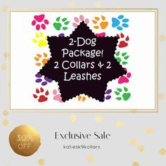 30% OFF on select products. Hurry, sale ending soon!  Check out our discounted products now: https://www.etsy.com/shop/katiesk9kollars?utm_source=Pinterest&utm_medium=Orangetwig_Marketing&utm_campaign=2%20dog