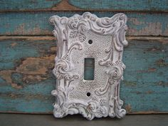 Light Switch Plate Cover White Washed Ornate Shabby Chic Metal $9