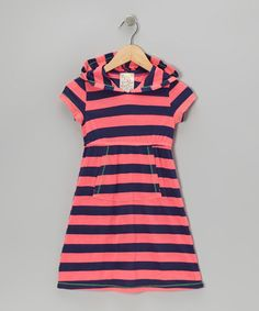Take a look at this Neon Pink & Navy Stripe Hooded Dress - Girls by Pink Vanilla on #zulily today!