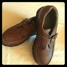 Basque Leather Buckle Loafers Leather loafers with contoured arch support, adjustable buckle closure, lug soles. Very comfortable. Terrific for    every day casual wear or light hiking. Like new condition. Vasque Shoes Flats & Loafers