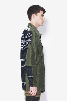 3.1 Phillip Lim - Canvas Trompe L'oeil Anorak With Knit Back Panel $795.00 COLOR: ARMY GREEN CONCRETE EXPLORER. MIX TEXTURED PATCHWORK CANVAS TROMPE L'OEIL ANORAK FEATURING FRONT ZIPPER AND SNAP BUTTON CLOSURE, MULTIPLE FLAP POCKETS, AND CONTRAST STRIPE KNIT BACK. 100% COTTON MENS WOVEN JACKET F113-6650MTPM_DK PWK-GRN