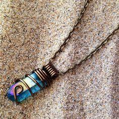 Aura Quartz Crystal Necklace Aqua Aura by crystalsNcreations