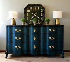 Fabulous French Provincial Credenza. Navy. Gold. Vintage. #paintedfurniture #affiliate #furniture