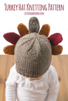 Dress your little one up in adorable Thanksgiving Turkey hat with my new knitting pattern for newborns, babies and toddlers! Dress your little one up in adorable Thanksgiving Turkey hat with my new knitting pattern for newborns, babies and toddlers! Kids Knitting Patterns, Baby Hat Patterns, Baby Hats Knitting, Knitting For Kids, Loom Knitting, Free Knitting, Knitting Projects, Knitted Hats, Fall Patterns