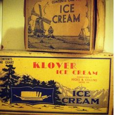 Vintage 1930's Ice Cream Containers / Boxes antique antiques retro cool container  collectible Collectibles kitchen pantry house home decor