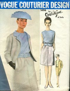 1960s Vintage Sewing Pattern Vogue Couturier Design 1496 Three Piece Designer Suit by Galitzine of Italy 60s era Pattern Size 12 on Etsy, $38.49 AUD