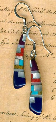 Southwest Inlay Gemstone Earrings~Lapis Turquoise Sugalite Red Jasper Sterling