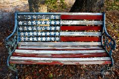 Weathered patriotic bench