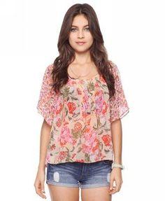 ShopStyle: Forever 21 Contrast Floral Blouse