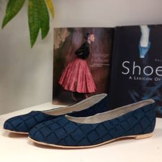 Navy flats made in our shoe making course 'Ballet Pumps for Beginners'.  http://icanmakeshoes.com/courses/