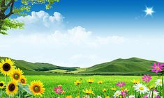 Grassland,blue sky and white clouds,sunflower,green mountain landscape Beautiful Nature Wallpaper Hd, Wallpaper Nature Flowers, Hd Nature Wallpapers, Beautiful Nature Pictures, Flower Background Wallpaper, Green Background Video, Studio Background Images, Landscape Background, Beautiful Landscape Paintings