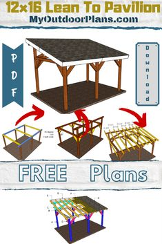 Lean to Pavilion Plans This project is about how to build a pavilion with a lean to roof. The free plans come with step by step diagrams, instructions and full Cut Backyard Pavilion, Outdoor Pavilion, Backyard Patio, Backyard Sheds, Diy Patio, Gazebo Plans, Shed Plans, Free Pergola Plans, Diy Gazebo