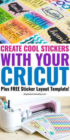 How to Make Stickers with your Cricut +Free Sticker Layout Templates. Not only will I teach you how to make your stickers from scratch, but I will also provide you with six different types of layouts that will help you build and create the most stunn Cricut Vinyl, Cricut Air 2, Cricut Craft Room, Cricut Help, Cricut Ideas, Cricut Tutorials, Cricut Project Ideas, How To Make Stickers, Cool Stickers