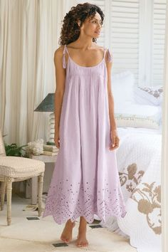 Eyelet Gown from Soft Surroundings Plus Size Womens Clothing, Clothes For Women, Pyjamas, Nightgown Pattern, Cotton Sleepwear, Nightgowns For Women, Pretty Lingerie, Pajamas Women, Night Gown