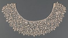 Collar, late 17th and late 19th century elements. Italian. The Metropolitan Museum of Art, New York. The Nuttall Collection, Gift of Mrs. Magdalena Nuttall, 1908 (08.180.701) |  The name point de neige refers to the resemblance of the delicate buttonholed loops and projecting picots to snowflakes (neige being the French word for snow). #snow