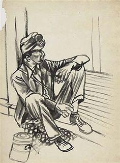 Seated Worker By Ben Shahn ,Circa  1930