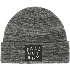 Fall Out Boy Grey Black Marled Knit Watchman Beanie Hot Topic ($15) ❤ liked on Polyvore featuring accessories, hats, patch hat, knit beanie hats, beanie cap, beanie cap hat and grey knit beanie