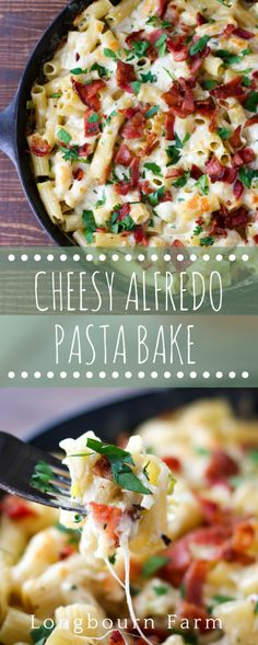 This cheesy alfredo pasta bake recipe is made all in one skillet and only takes 25 minutes from start to finish. Bubbly cheese on the outside, creamy cheesy pasta on the inside.
