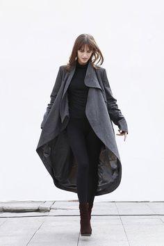 Dark Grey Coat Bud Wool Coat Long Wool Coat Winter Coat Long Sleeve Coat Jacket for Women - NC197