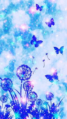 Blue garden, made by me Cocoppa Wallpaper, Iphone Wallpaper Images, Phone Screen Wallpaper, Kawaii Wallpaper, Pastel Wallpaper, Cellphone Wallpaper, Cool Wallpaper, Wallpaper Backgrounds, Butterfly Background