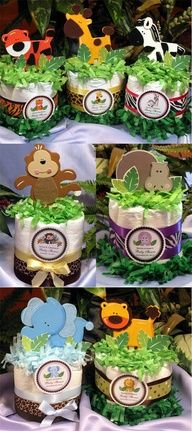 Jungle themed baby shower nappy / diaper cake centerpieces