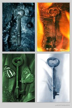 Elemental Keys - Print by `nighty on deviantART Water, Fire, Air, Earth Wiccan, Magick, Witchcraft, 4 Elements, Elemental Powers, Element Symbols, Water Element, Book Of Shadows, Occult