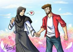 Quotes About Love For Him : walking under the blue sky n__n by madimar.deviantar… on Cute Muslim Couples, Muslim Girls, Cute Couples, Anime Couples, Muslim Women, Cute Couple Comics, Cute Couple Cartoon, Islam Marriage, Islamic Cartoon