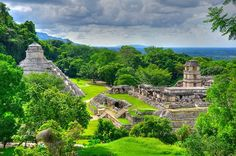 Jungle pyramids, Palenque, Mexico, 17° 29′ 2.33″ N, 92° 2′ 46.79″ W  Palenque was a Maya city state in southern Mexico that flourished in the 7th century. The Palenque ruins date back to 226 BC to its fall around 1123 AD. After its decline it was absorbed into the jungle, which is made up of cedar, mahogany, and sapodilla trees, but has been excavated and restored and is now a famous archaeological site attracting thousands of visitors.