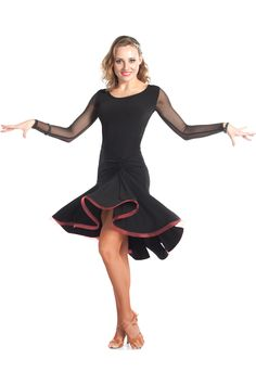 The NEW Joanna Net Sleeve dance dress is a perfect outfit for any Latin or Ballroom dancer. Designed for a perfect fit, this style create graceful lines on the dance floor. The beautiful solar skirt a