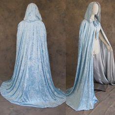 Artemisia Designs Medieval Renaissance Cloak Lined Light Blue Velvet Silver Satin