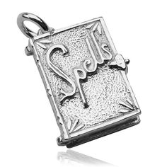 Spell Book Sterling Silver Charm Pendant Magic Book of Spells Opens Cauldron #Traditional