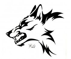 Tribal wolf from profile wallpaper