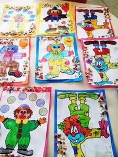 Cirque - lesptitsbricoleurss jimdo page! Le Clown, Portrait, Preschool Activities, Crafts For Kids, Points, Ainsi, Projects, Paper Strips, Red Glitter