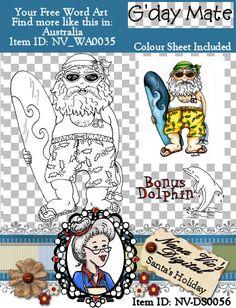 Santa Holiday Surfing Digital Stamp Digi Instant Download ID:NV-DS0056 By Nana Vic
