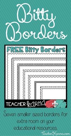 FREE Bitty Borders for your educational resources. TeacherKarma.com