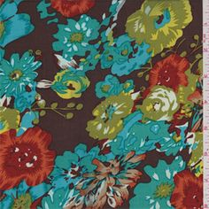 Dark brown background with a turquoise blue, avocado green, yellow, turquoise green, brick red, tan, orange and white large floral print. This lightweight rayon fabric has a soft feel and good drape.Compare to $12.00/yd