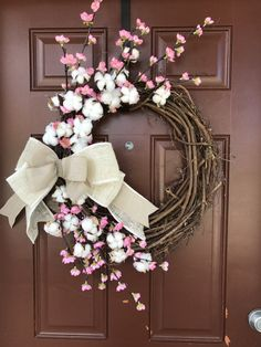 Cherry Blossom and Cotton Boll wreath by KnitsAndWreaths on Etsy