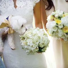 Bride: lilies of the valley and gardenias, bridesmaid: roses and peonies