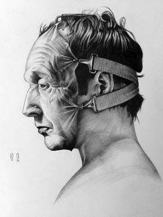 Tobin Bell (Saw V) by YuskivRoman on DeviantArt A Level Art Sketchbook, Arte Sketchbook, Dark Art Drawings, Art Drawings Sketches, Art Alevel, Horror Artwork, Desenho Tattoo, Identity Art, Ap Art
