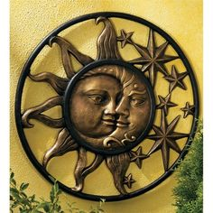 Wind & Weather Handcrafted Aluminum Sun and Moon Face Sculpture Wall Décor & Reviews | Wayfair