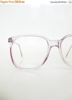 0361a51b02 Vintage Clear Purple 1980s Eyeglasses Womens Ladies Round P3 Nerdy Indie  Hipster Chic Pastel Lavender Light Transparent 80s Nerdy Geek